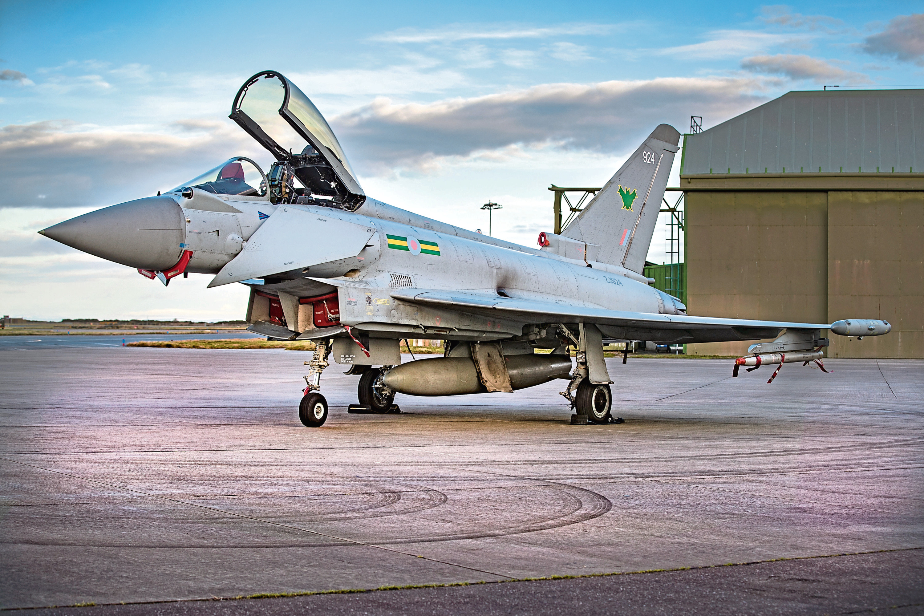 An RAF Lossiemouth Typhoon recently painted with the IX(B) Squadron markings.