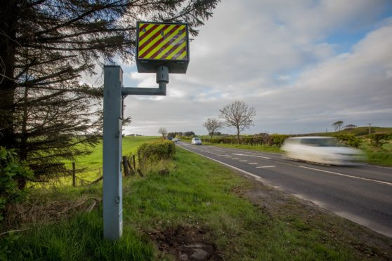 Speed camera on the A90 at Rathen.