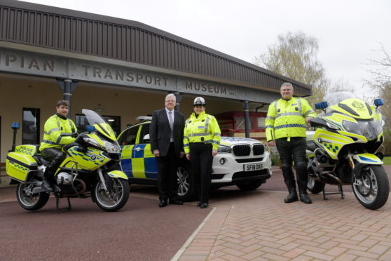 Launch of the 2019 Motorcycle Safety Campaign. From left, Constable Aaron White, Director of Road Safety Scotland Michael McDonnell, Deputy Head of Road Policing Louise Blakelock and Chief Inspector for Road Policing Stewart Mackie.