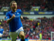 Stevie May celebrates scoring against Aberdeen in the 2014 Scottish Cup semi-finals.