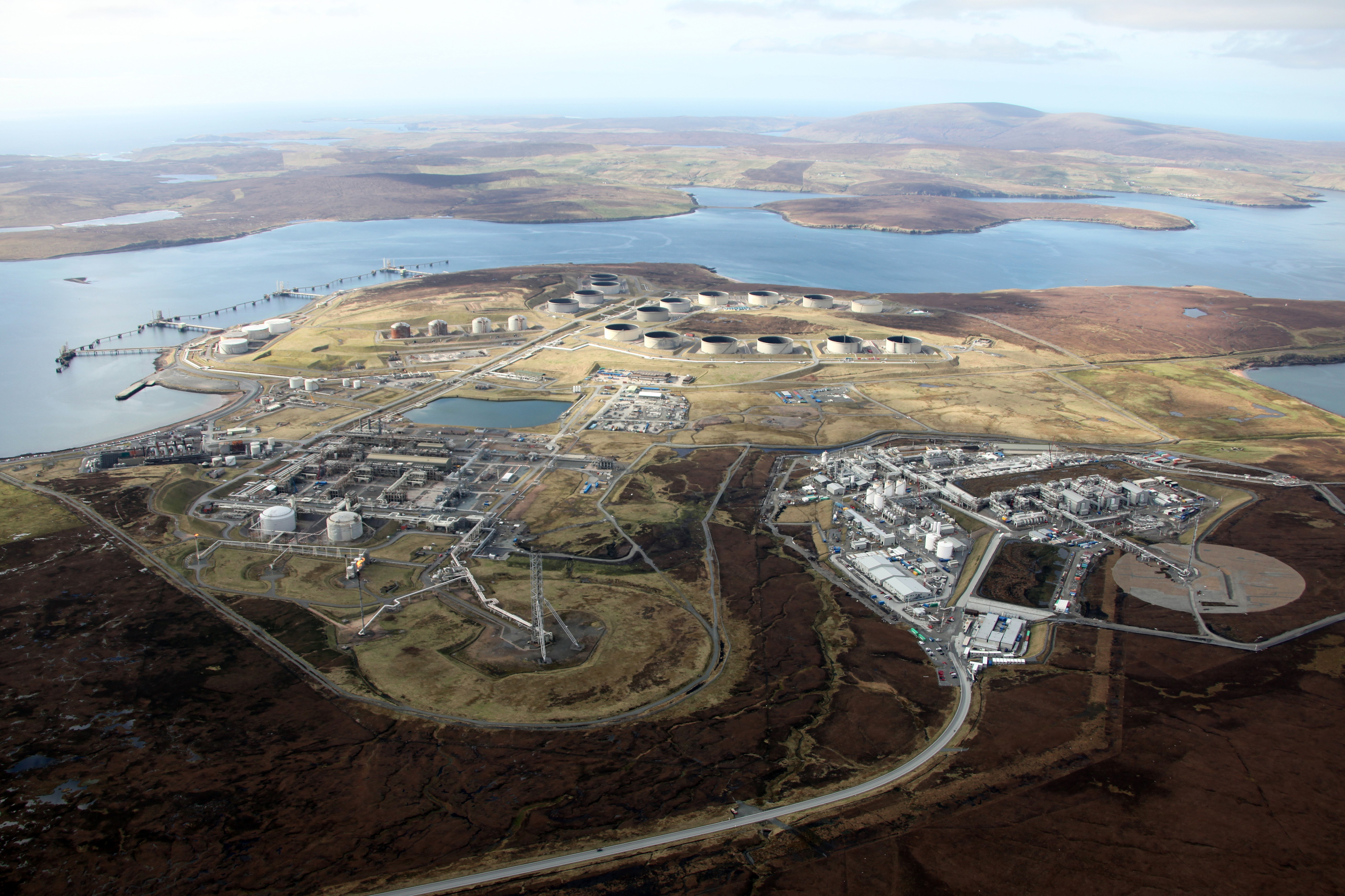 The harbour near to Sullom Voe was evacuated after a suspicious package turned up yesterday morning