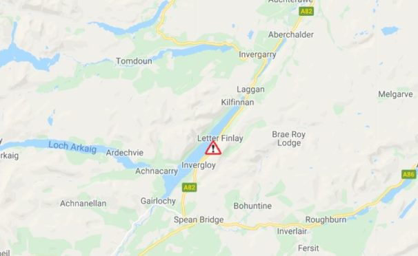 A map from Traffic Scotland showing the location of the accident