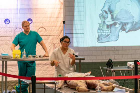 Moray College UHI hosts live human body dissection with synthetic cadaver to teach students a variety of clinical skills.
