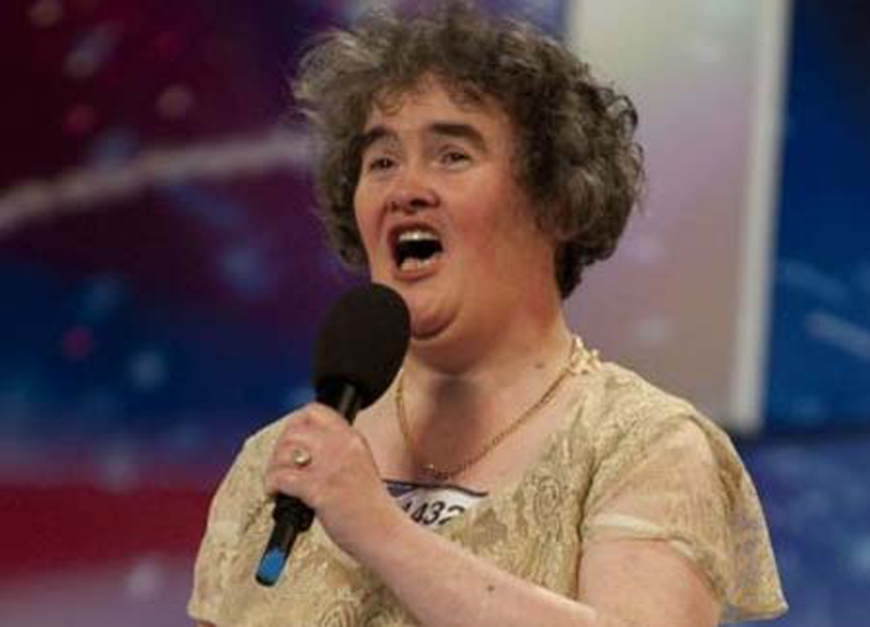 Susan Boyle performing on Britain's Got Talent 10 years ago.