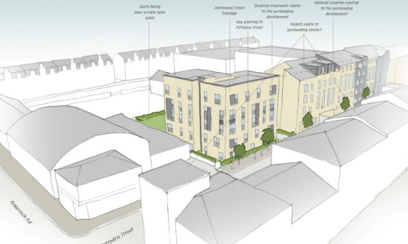 A design image of how the new flats could look on Pittodrie Street