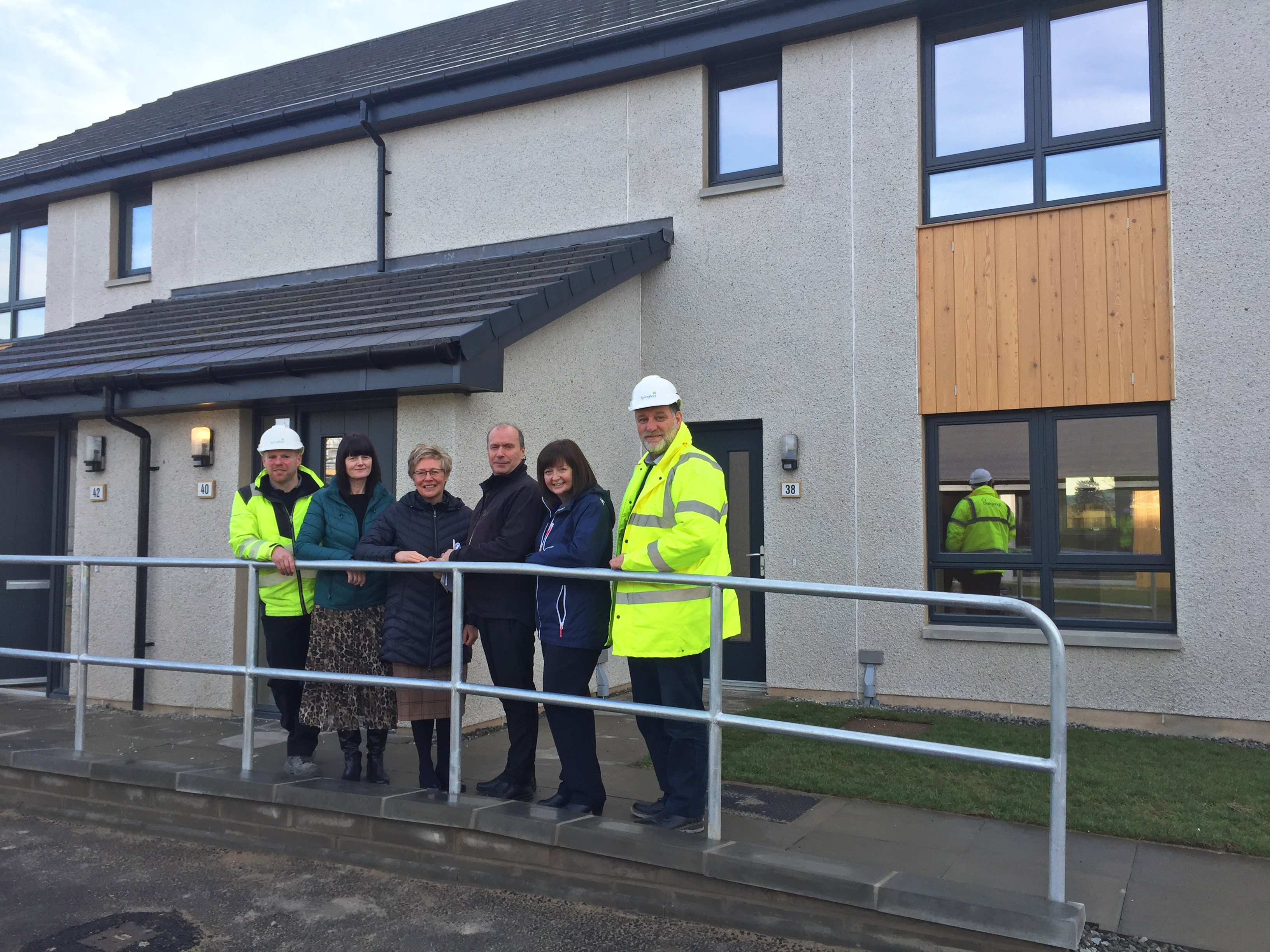 PicturedL Gordon Mortimer, Springfield site manager, Gillian Henly, senior housing officer Moray Council, Angela Fraser, housing information systems officer Moray Council, Andy Warman, housing occupational therapist Moray Council, Fiona Geddes, acting housing strategy and development manager Moray Council, Bruce Robertson, Springfield Partnerships Project Manager.