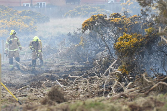 Firefighters at the Scotstown Nature Reserve in Aberdeen