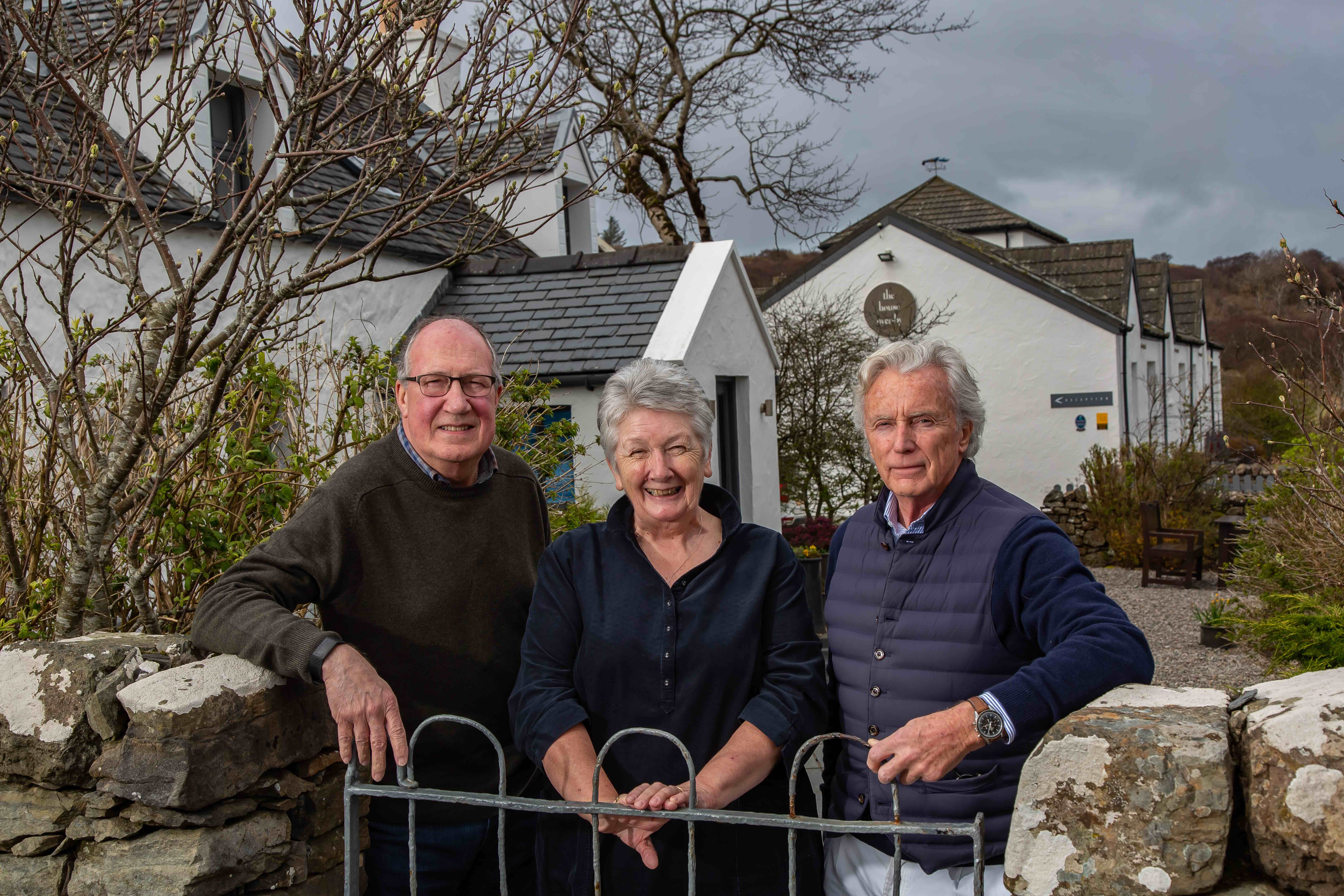 Eddie and Shirley Spear with new owner of The Three Chimneys Gordon Campbell Gray