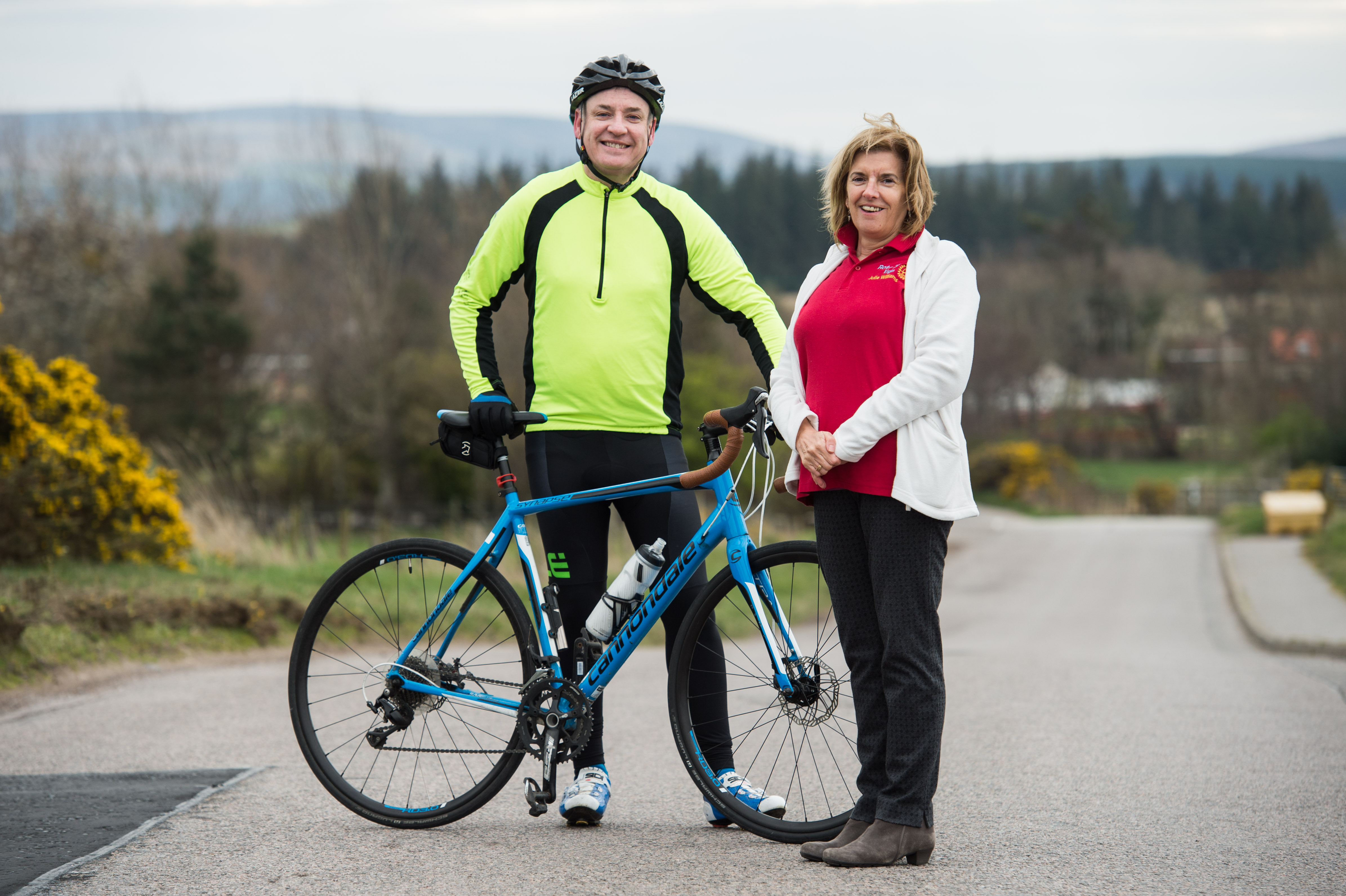 Moray MSP Richard Lochhead and Elgin Rotary Club member Julie Williams.
