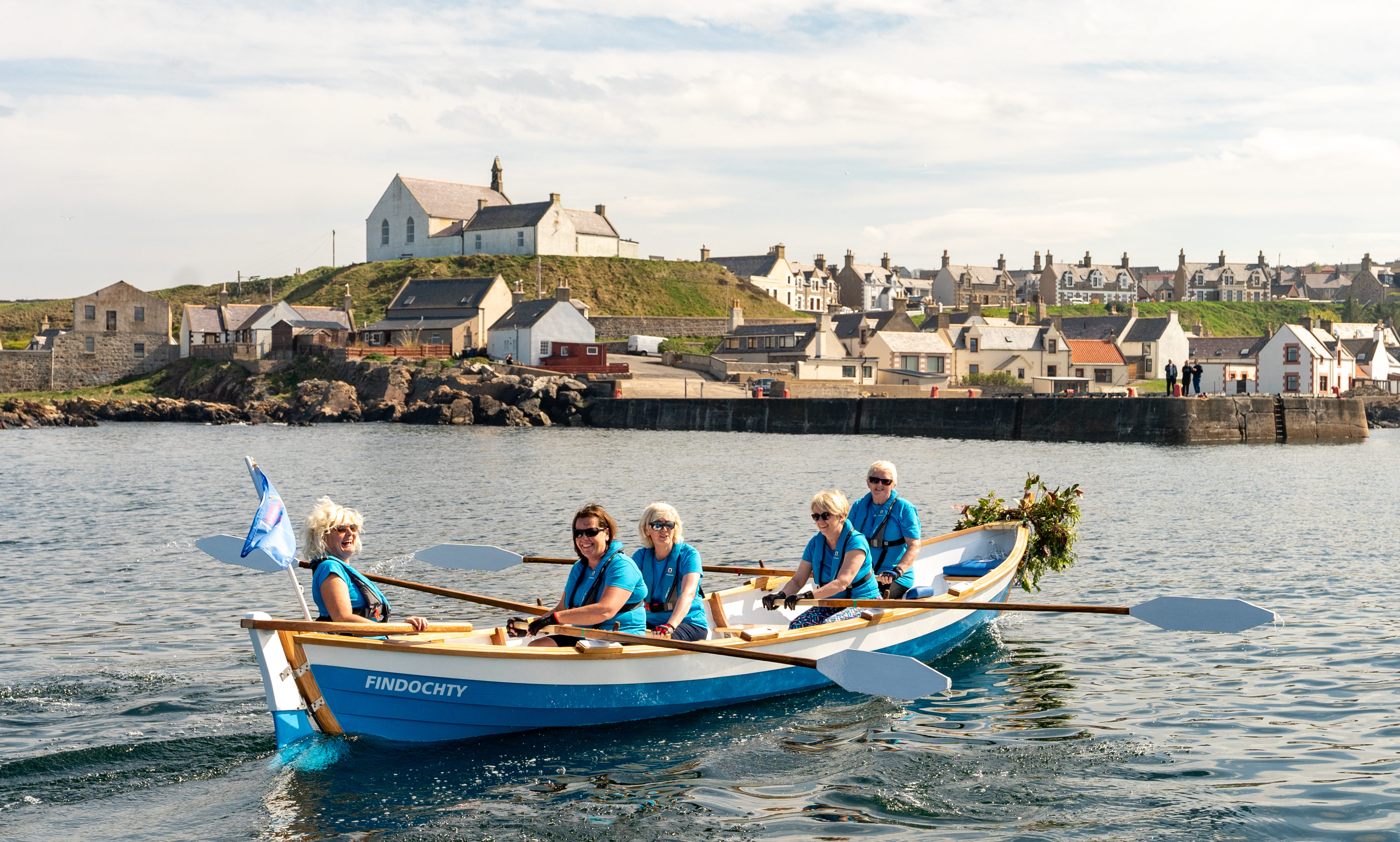 Findochty Rowing Club launching its new skiff that it has spent the last year building.
