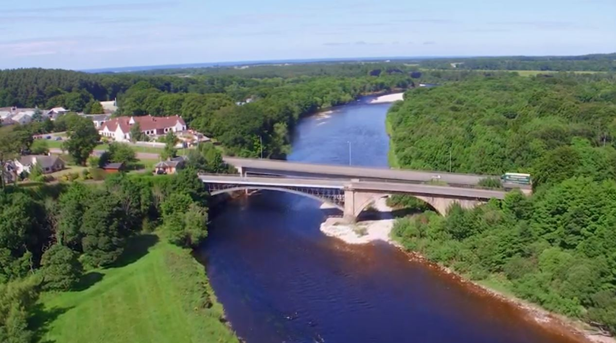 The A96 bridge over the River Spey at Fochabers.