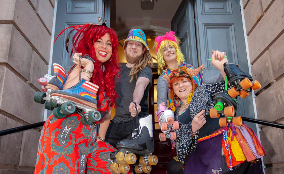 A funky roller disco for all ages was held at Forres House Community Centre in April to raise awareness of the Forres Skate Park Initiative. Getting their skates on are, left to right, Sophie Fullard, Franky Haymer, Kirsty-Ann Wilson and Fi Rodger. Picture: Marc Hindley