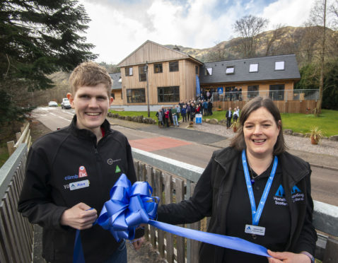 Adventurer Alex Staniforth with Glen Nevis Youth Hostel Manager, Caroline Knox after the official opening ceremony.