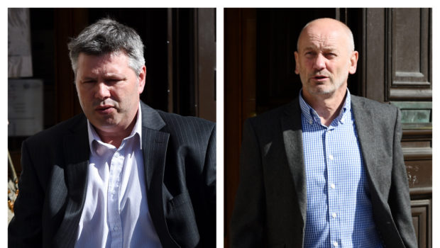 Bryan Wilson and Graham Skinner, directors of RB Wilson Electrical, leaving court