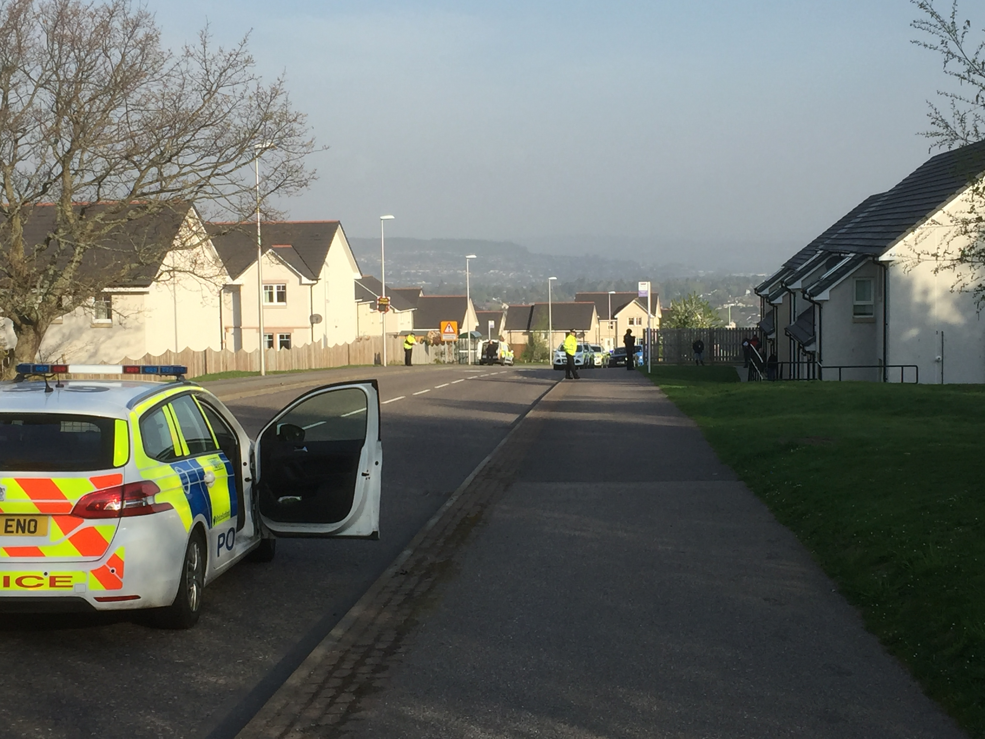 Police on the scene in Milton of Leys this morning.