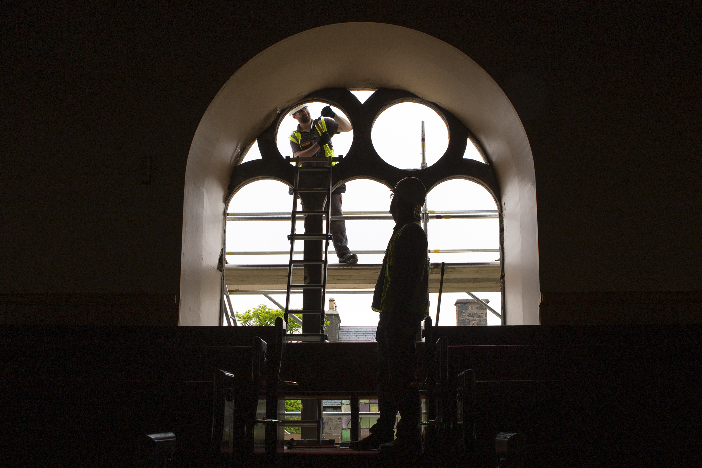 Work to restore the stained glass windows at St Columba's Church in Stornoway is now underway thanks to the £50,000 donation from the Point and Sandwick Trust. Picture by Sandie Maciver/SandiePhotos