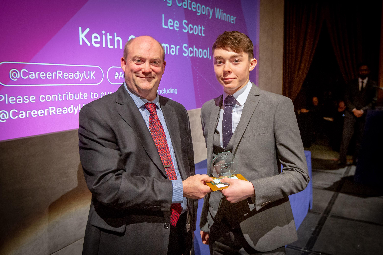 John Elvin, Associate Director Scientific Liaison UK AstraZeneca with Keith Grammar student Lee Scott.