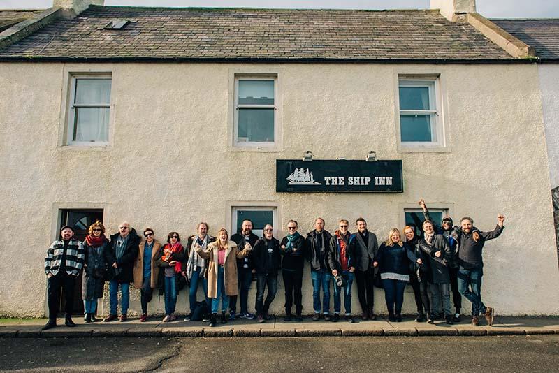The cast and creative team of Local Hero visit The Ship Inn, Banff. Photo: Mihaela Bodlovic