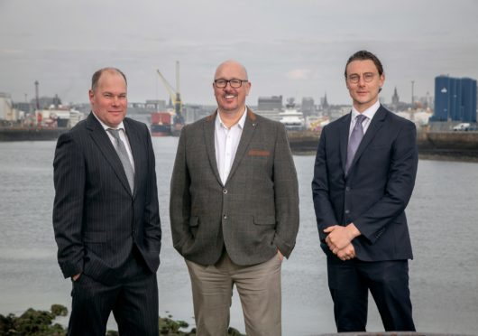 Left to right: Mike Watson, David Sheret (Archer Knight) and Kenneth Bell of Gneiss Energy