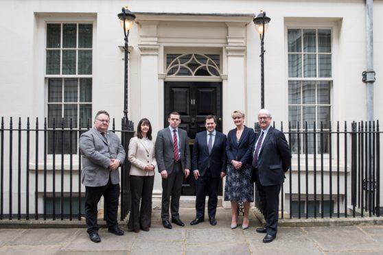 Moray Growth Deal Team at Downing Street_24 April 2019 Left to right: Graham Leadbitter (Moray Council Leader), Donna Chisholm (Area Manager, Moray; Highlands and Islands Enterprise), Douglas Ross (MP for Moray), Robert Jenrick (Exchequer Secretary at the Treasury), Rhona Gunn (Corporate Director, Economic development, infrastructure & planning, Moray Council) and Michael Urquhart (Moray Growth Deal Business Assembly).