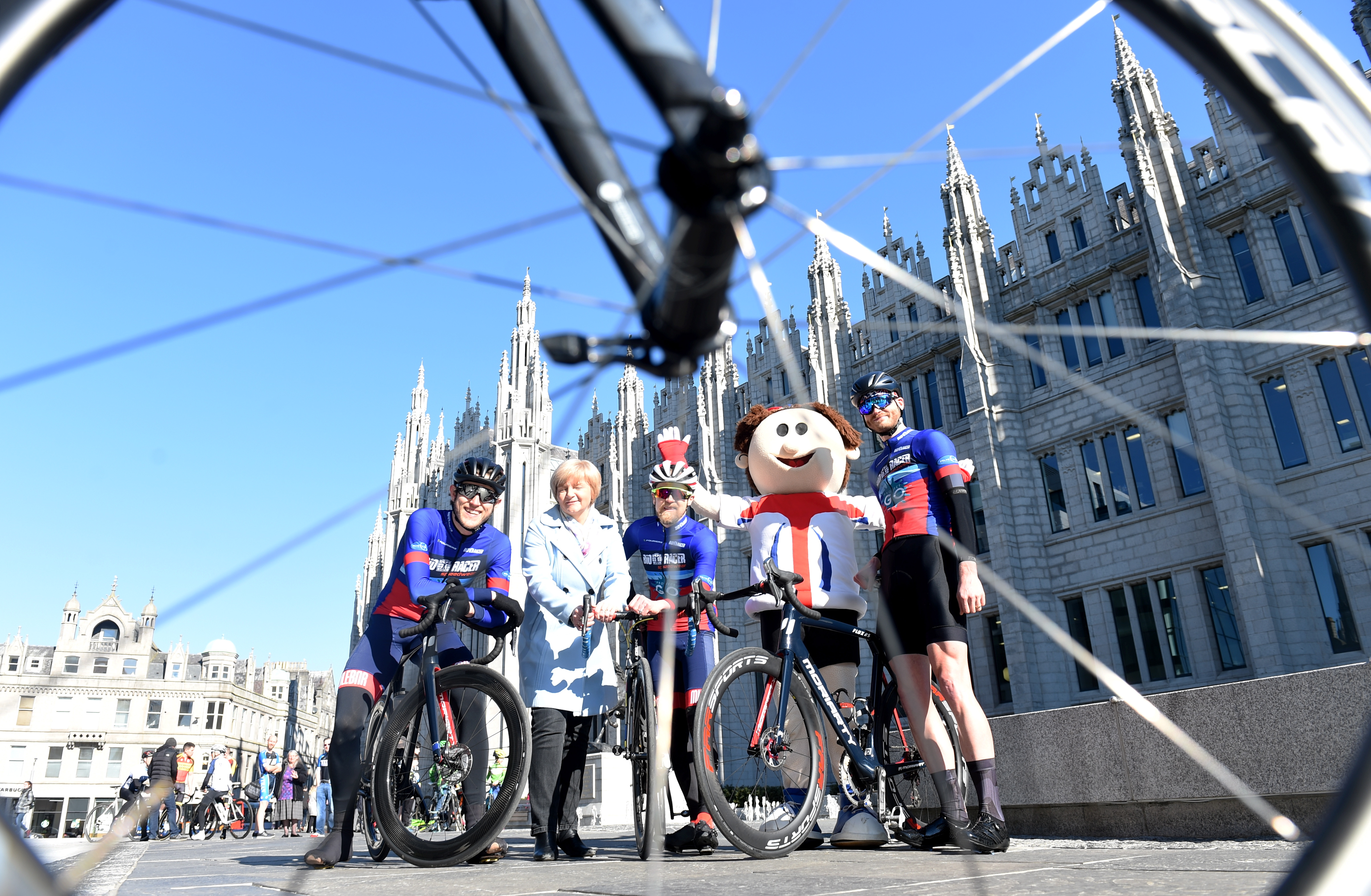Pictured are from left, Tom Gelati, Councillor Jenny Laing, David Reed, OVO Mascot and Jamie Davidson at Launch of the Aberdeen leg of the OVO Energy Tour Series. Picture by Darrell Benns