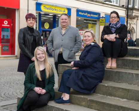 L-R: Jane Munro (Job Centre Plus) Sarah Baxter (DYW Moray) Moray Council Leader Graham Leadbitter Julieann Airens (Scottish Government) and Amy Cruickshank (opportunities for all officer at Moray Council)