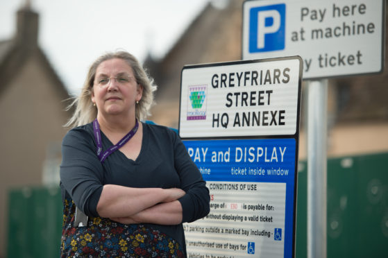 Suzanne Wright, branch secretary of unison is pictured at Moray Council car park and annex.