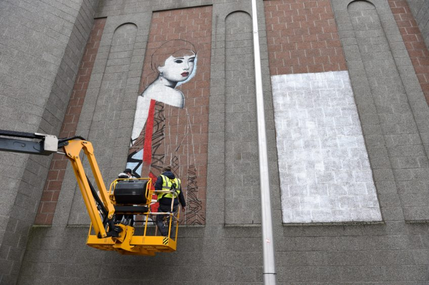 Nuart Aberdeen 2019. Picture of Hush on John Lewis, John Street, Aberdeen  Picture by KENNY ELRICK