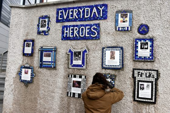 Nuart Aberdeen 2019. Picture of Everyday Heroes on Flourmill Lane, Aberdeen.  Picture by KENNY ELRICK