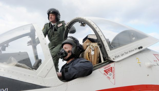 Owner James Campbell and pilot captain Paul Gibbs with the Jet Provost aircraft as it returned  to Inverness last night following its annual service combined with an aeronautics installation.