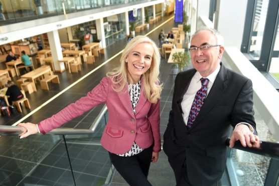 NHS Highland new chairman, Boyd Robertson with on the left new Director of Corporate Communications Jane McGirk. Picture by Sandy McCook.