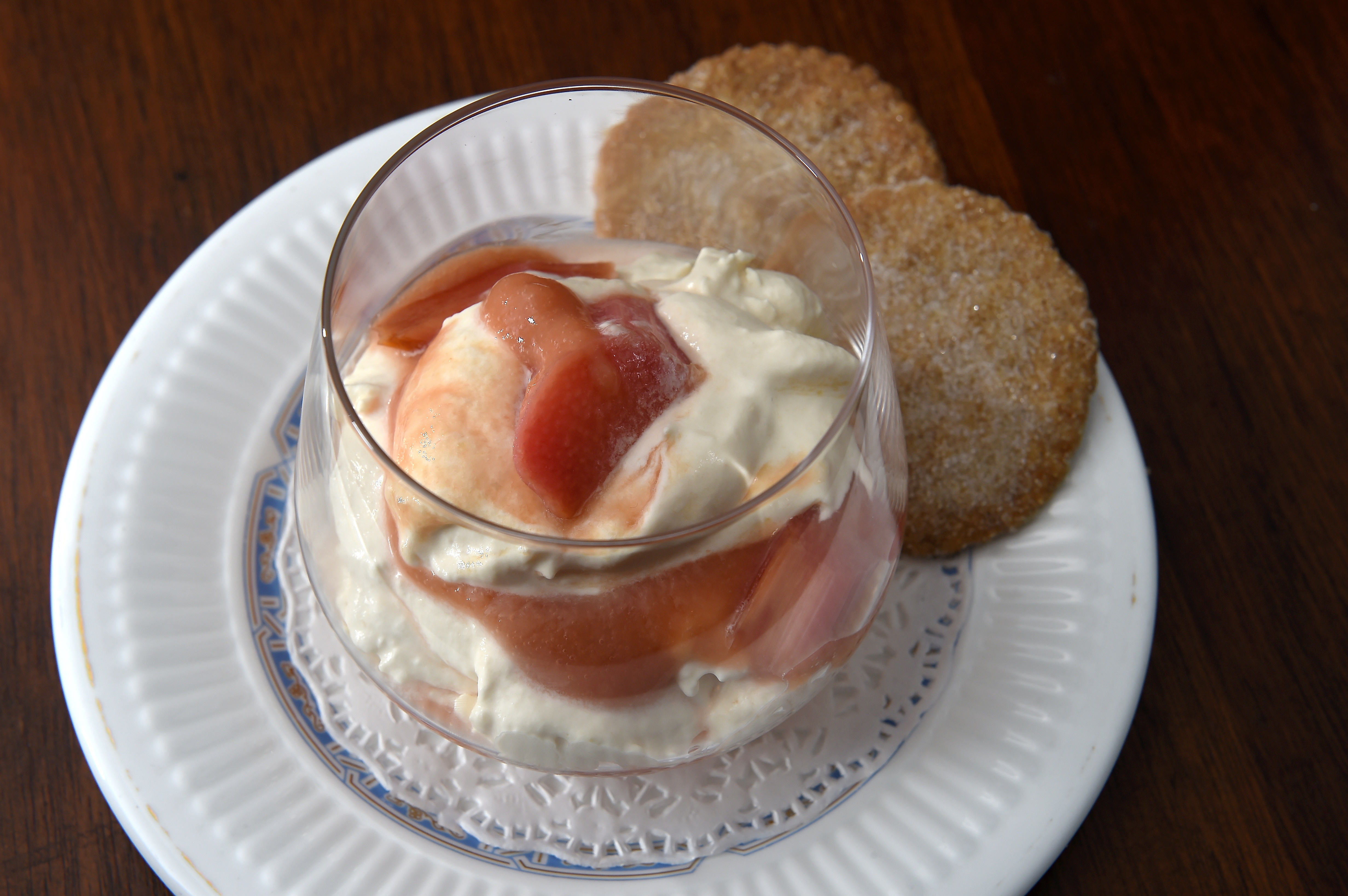 Michael Smith's rhubarb fool with ginger and oatmeal biscuits. Picture by Sandy McCook