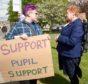 Protest organiser Skye Hawkins (17) of Drumnadrochit speaks with council leader Margaret Davidson.