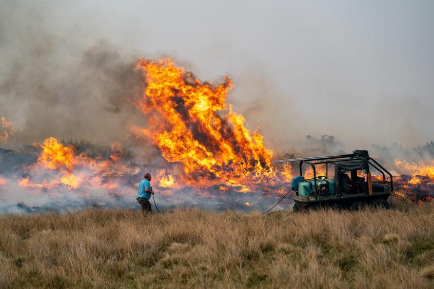 The raging fire near the wind farm.