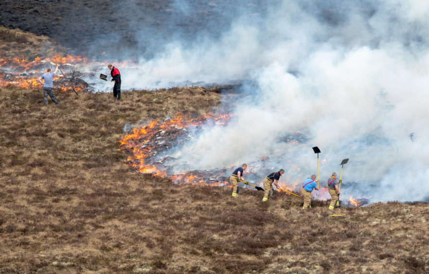 The raging wildfire extending between Knockando and Dunphail in Moray, Scotland.