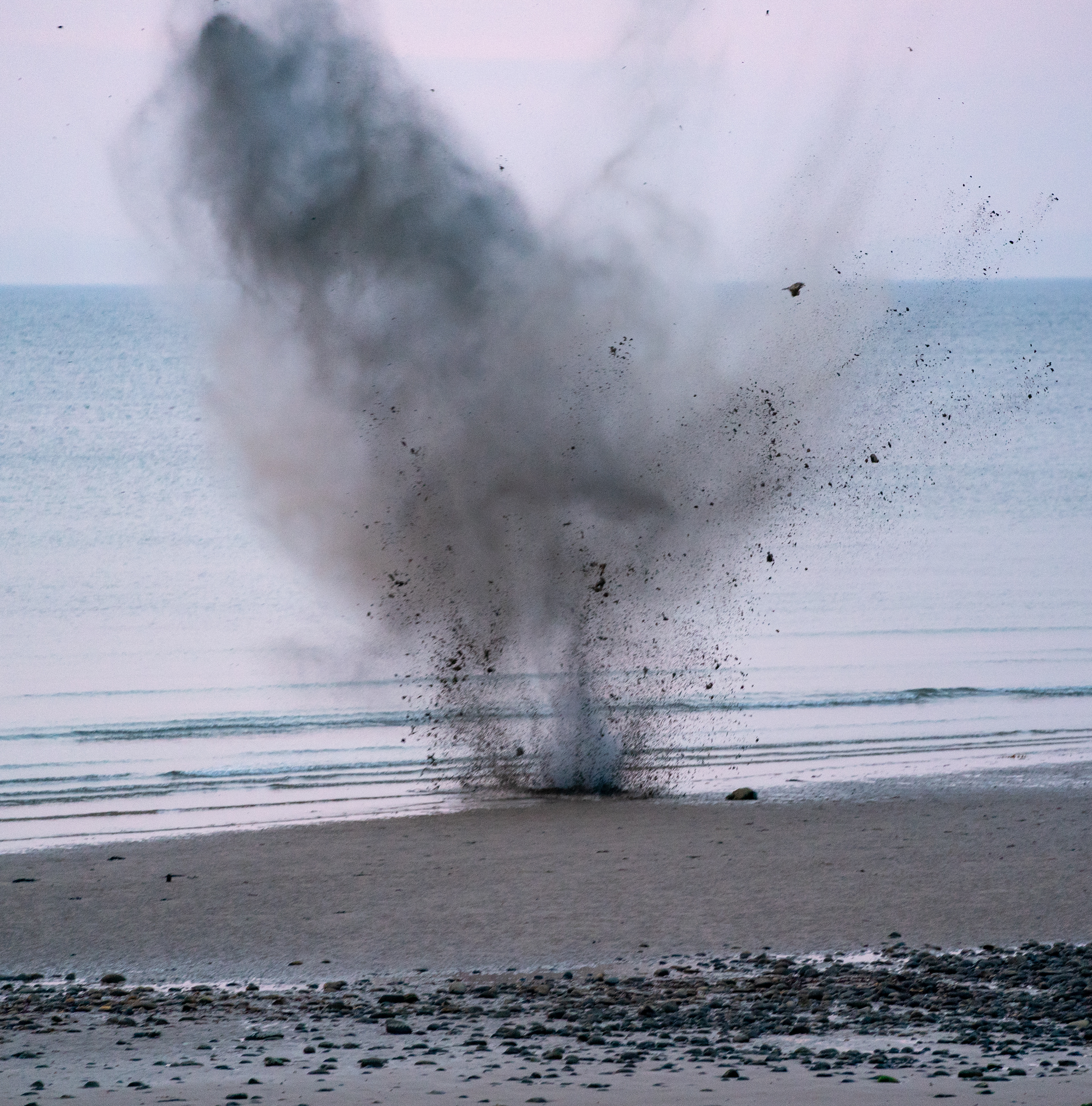The Royal Navy carried out the controlled explosion at Roseisle Beach