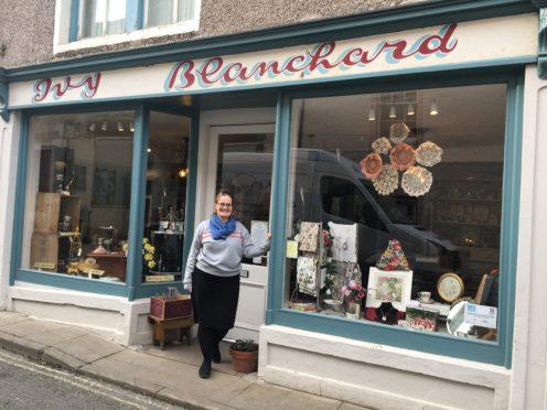 Rachel Kennedy outside the shop on Bridge Street, Banff