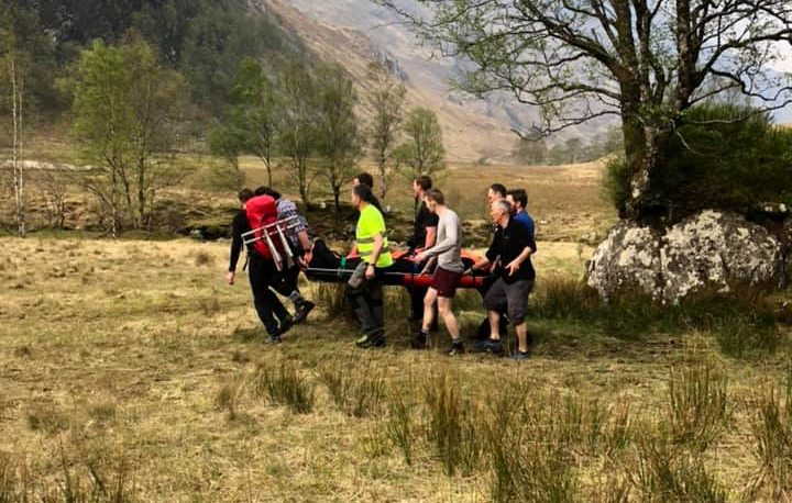 An image of the first rescue, from the Lochaber Mountain Rescue Team's Facebook page.