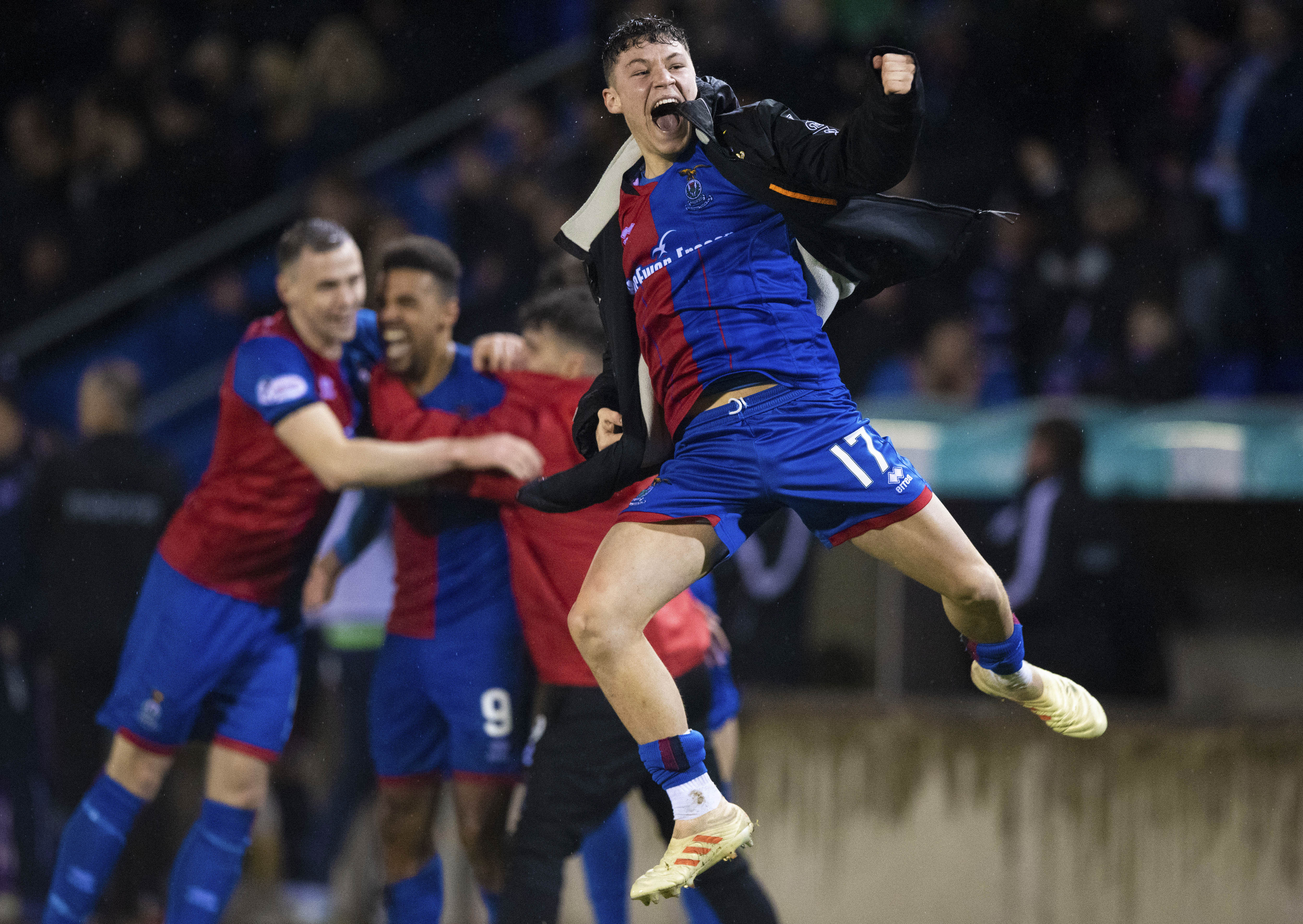 Anthony McDonald celebrates after Inverness' win over Ross County in the Scottish Cup.