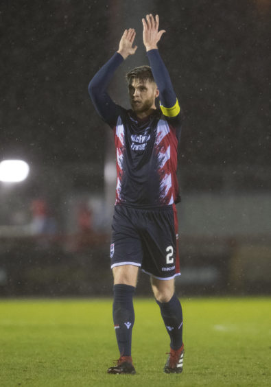 02/03/19 LADBROKES CHAMPIONSHIP INVERNESS CT V ROSS COUNTY TULLOCH CALEDONIAN STADIUM - INVERNESS Ross County captain Marcus Fraser celebrates at full time