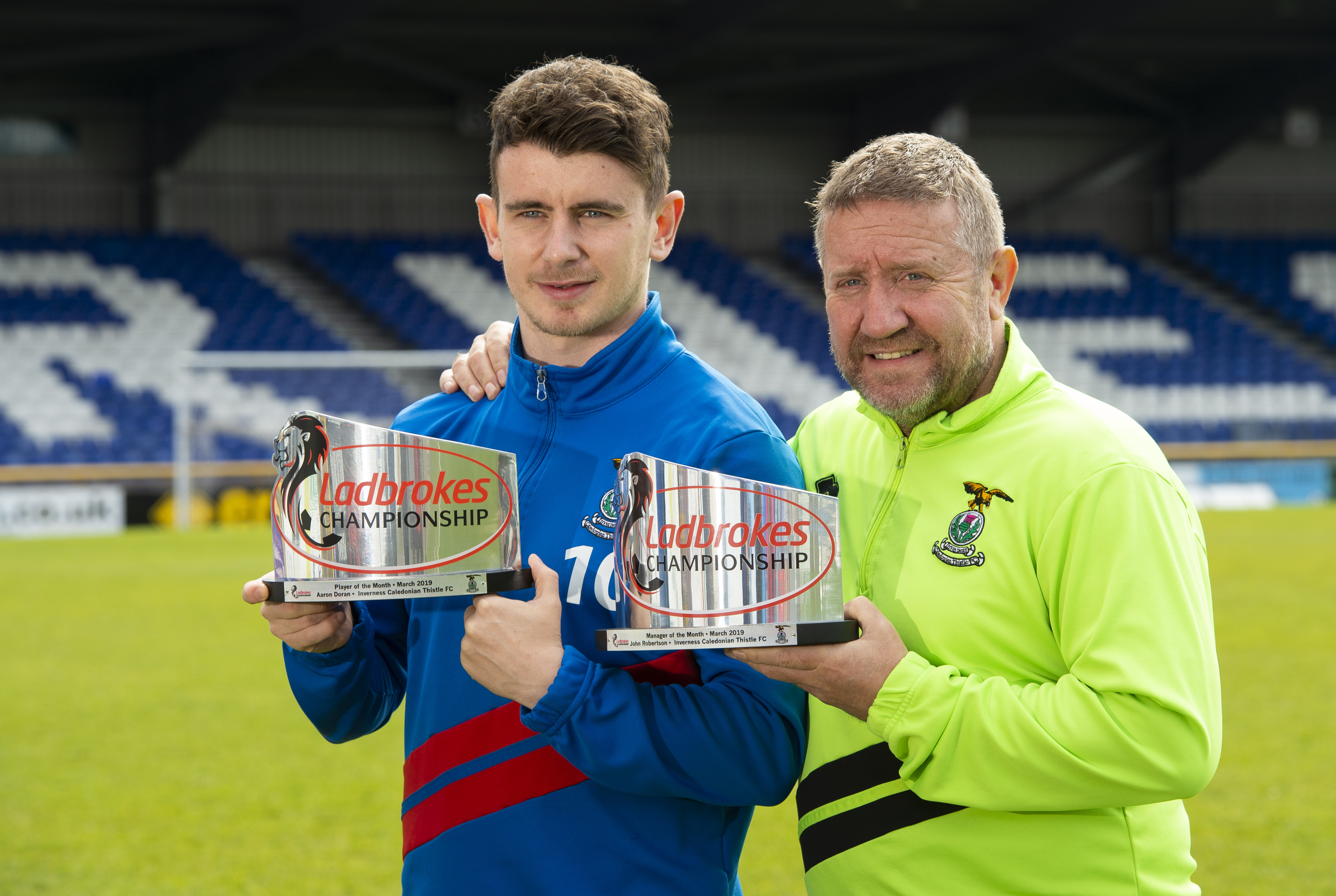 04/04/19 THE TULLOCH CALEDONIAN STADIUM - INVERNESS John Robertson and Aaron Doran win Ladbrokes Championship Manager and Player of the month awards for March.
