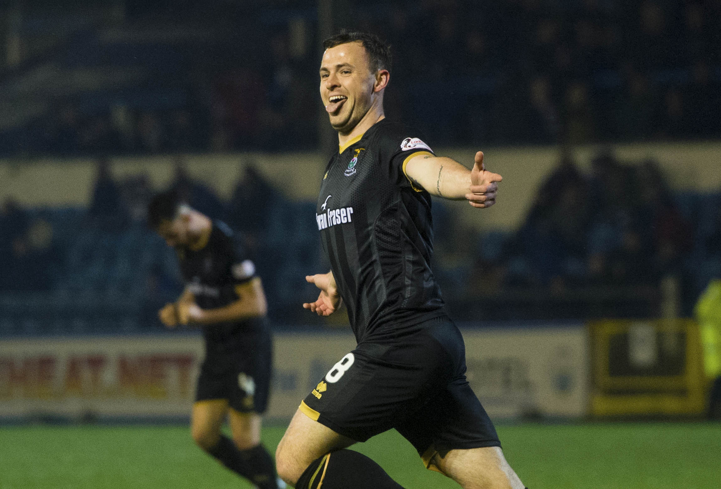 Darren McCauley celebrates a goal against Morton.