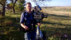 Steven Lewis Simpson filming at the site of the Wounded Knee battle, at the Pine Ridge Indian Reservation