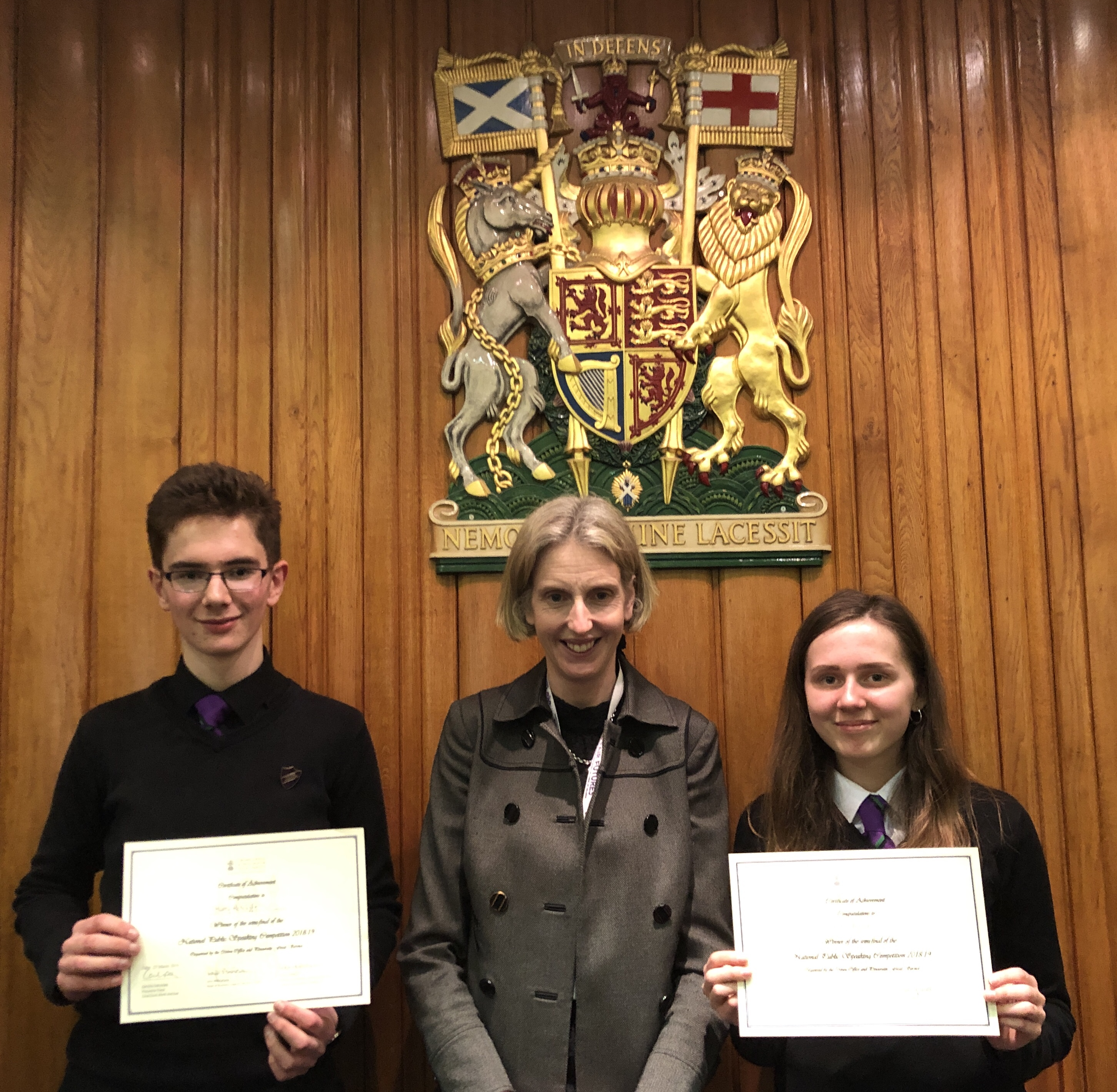 Harry Ratcliffe and Lauren Parsons pictured with Catriona Dalrymple, presiding judge of the semi-final and Procurator Fiscal for Local Courts in the North and East of Scotland following their victorious semi-final appearance