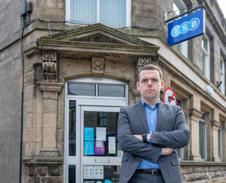 Douglas Ross at the TSB in Mide Street in Keith.