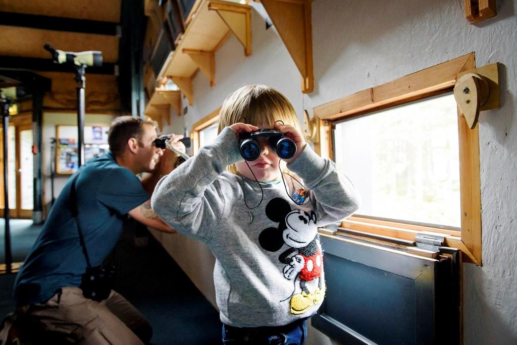Testing binoculars at Loch Garten Osprey Centre by Helen Pugh (RSPB Images)