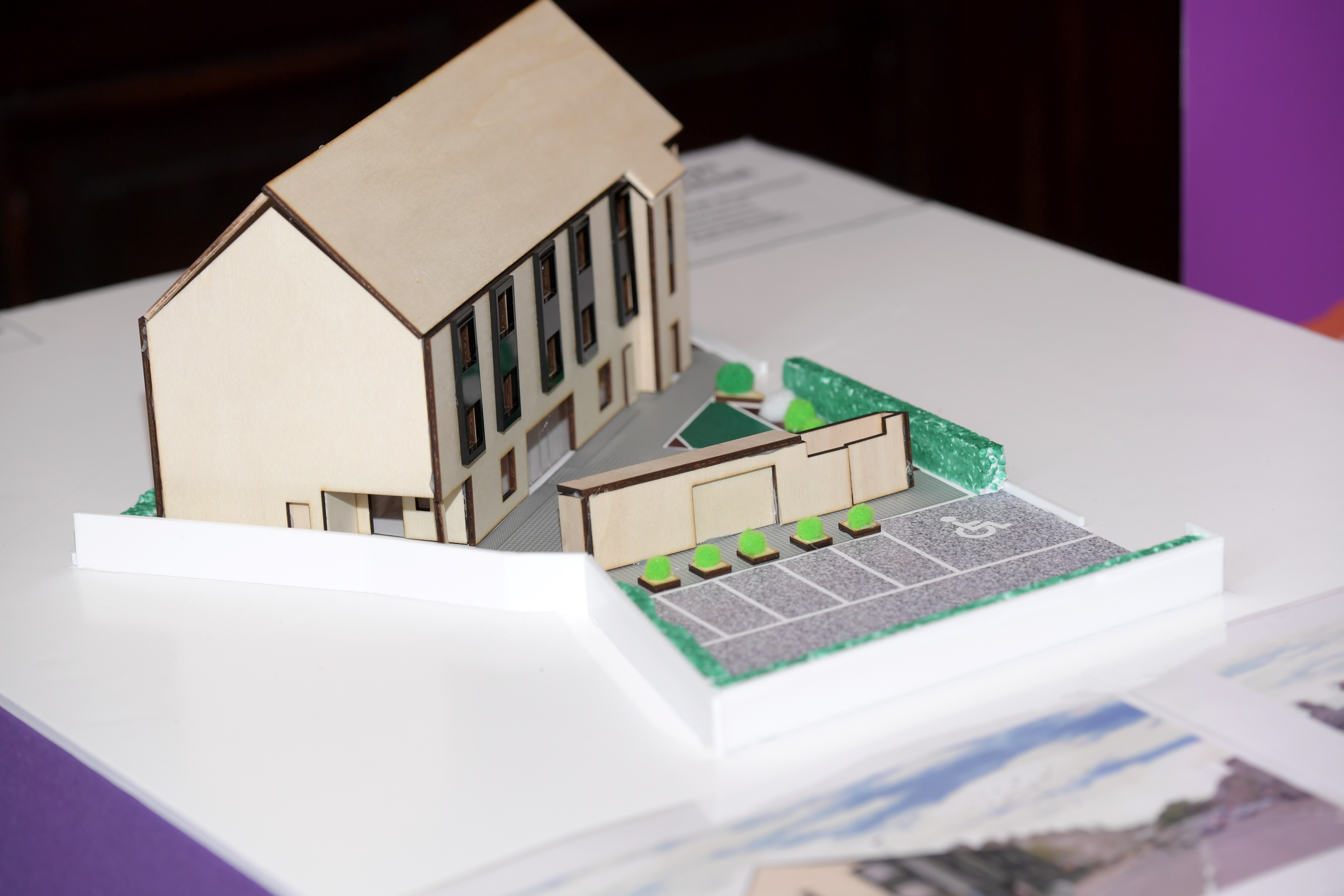 A miniature cardboard model of the proposed VSA facility.