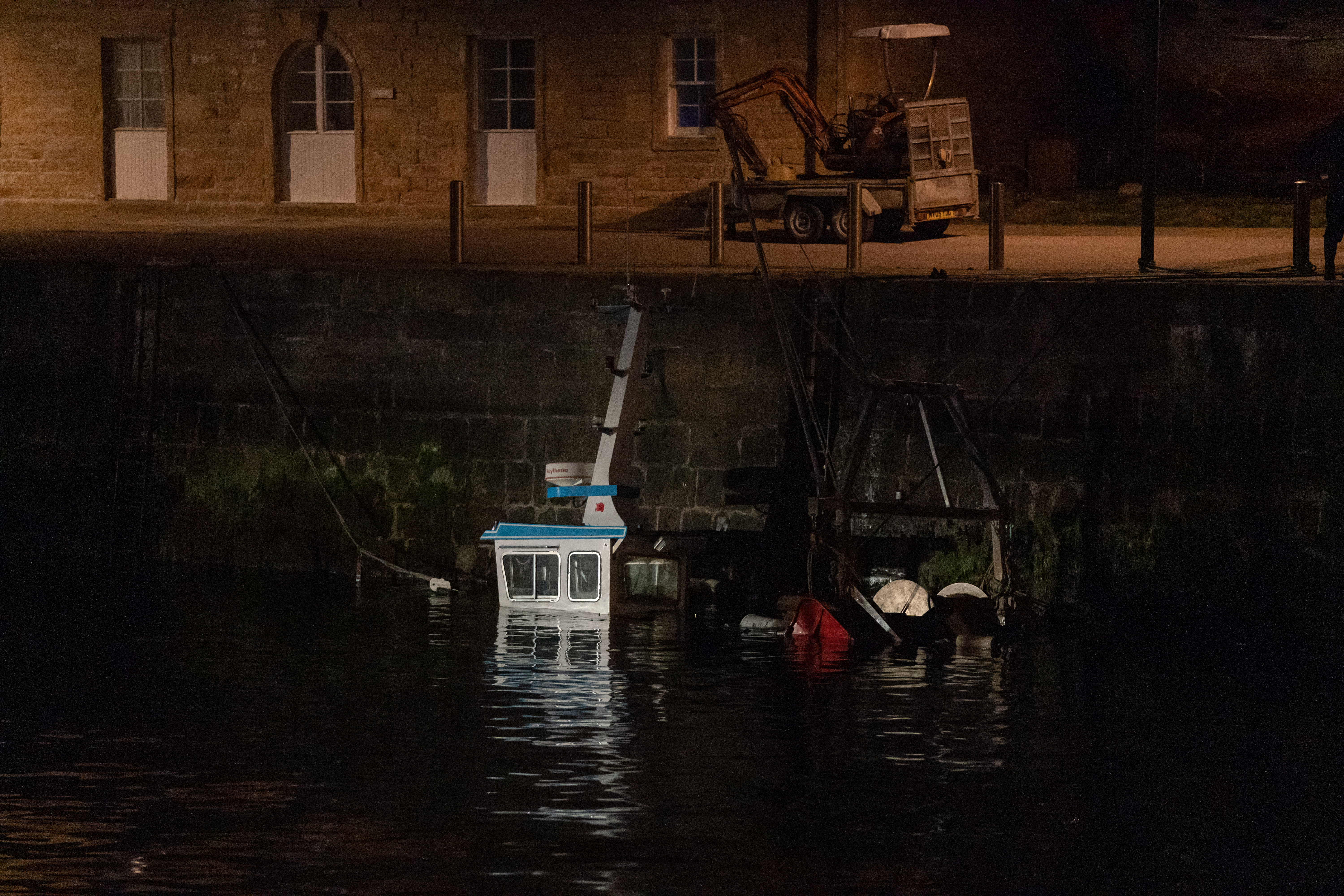 The fishing boat that sank within Burghead Harbour, Moray. Picture: JASPERIMAGE