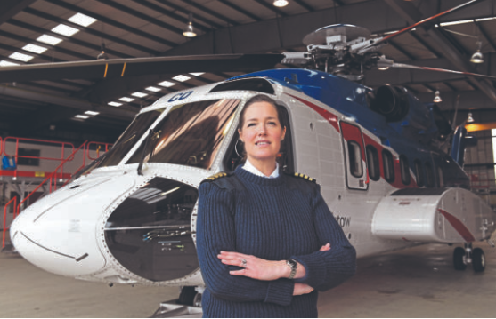 Bristow Pilot Christina Brun at the company base at Aberdeen Airport. Picture by Kami Thomson