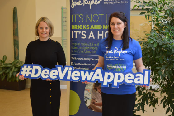Susan Greig from Apache with Sue Ryder's Emma Leiper Finlayson